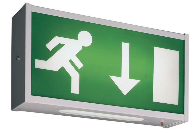Illuminazione Emergenza Ristorante : Illuminazione di emergenza sulla parete fotografia stock