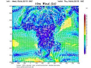 Si nota il rinforzo della ventilazione monsonica lungo l'area del Golfo di Guinea