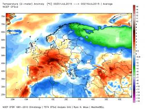 Le anomalie termiche dei primi 15 giorni di luglio 2015 in Europa