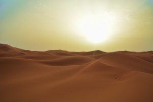 """Il tipico paesaggio estivo del """"rovente"""" deserto kuwaitiano"""