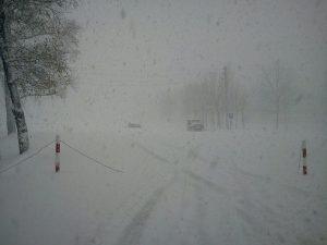 La città di Kolomna durante la forte nevicata
