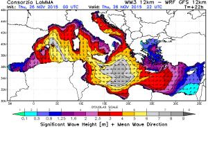 L'imponente moto ondoso atteso domani fra lo Ionio e il mar Libico