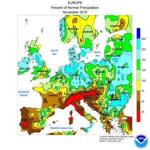 Le aree indicate in rosso sono quelle maggiormente colpite dalla siccità (credit NOAA)