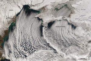 """Il fenomeno del """"Black sea effect snow"""" osservato dal satellite Acqua della NASA"""