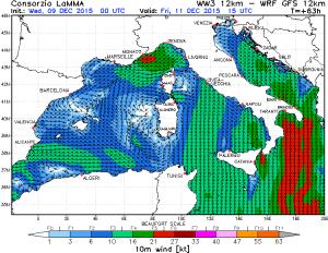 Il modello Lamma evidenzia l'intensa ventilazione settentrionale attesa venerdì