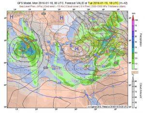 Ecco la depressione che domani potrebbe causare nevicate fino a bassissima quota al sud