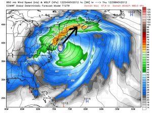 """Esempio di un tipico """"Tempesta di neve sugli USA: si tratta di un potente """"Nor'easter"""" davanti le coste del New England"""