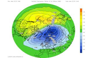Si nota l'asse del vortice polare (colore blu) coricato fra la Russia e l'Europa