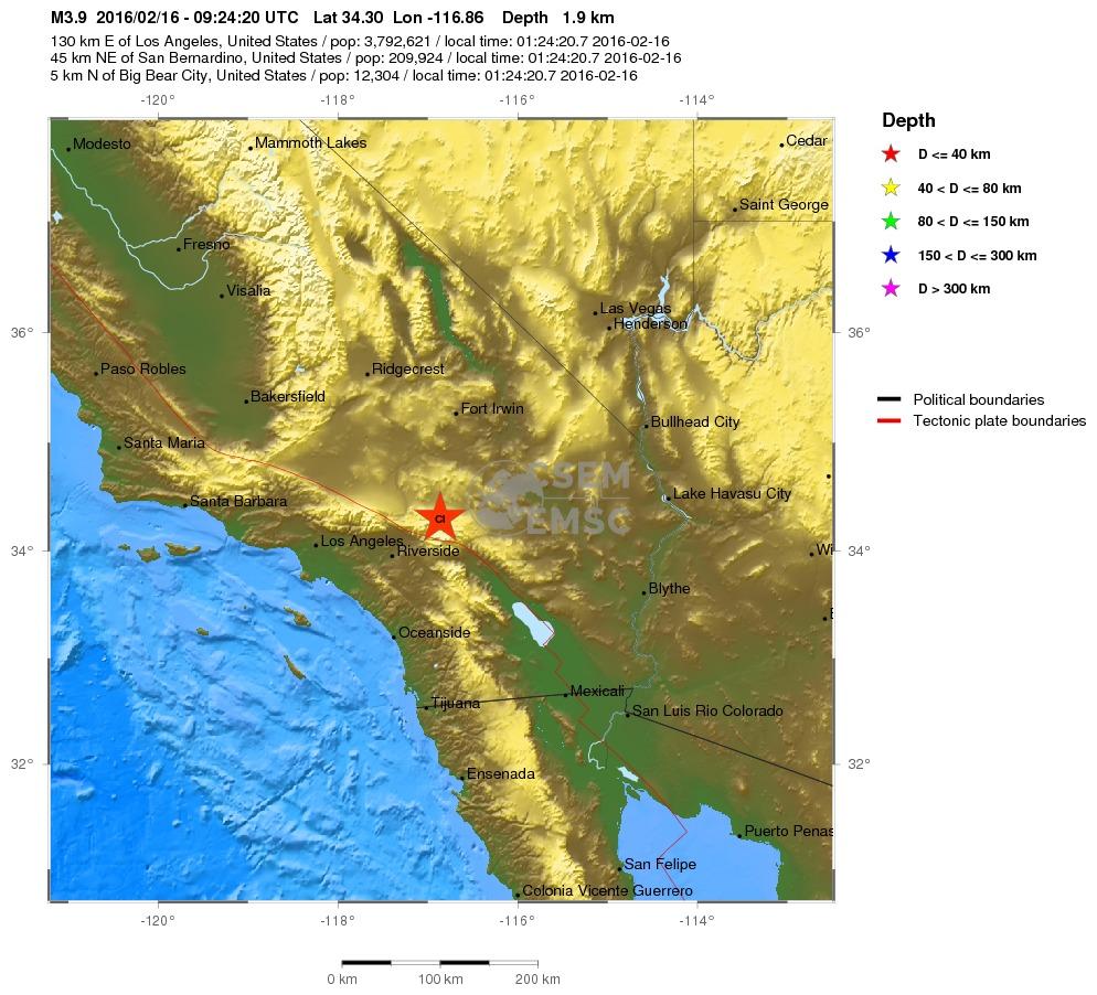 Terremoti scossa magnitudo 4 nel sud della california for Cabine romantiche nel sud della california