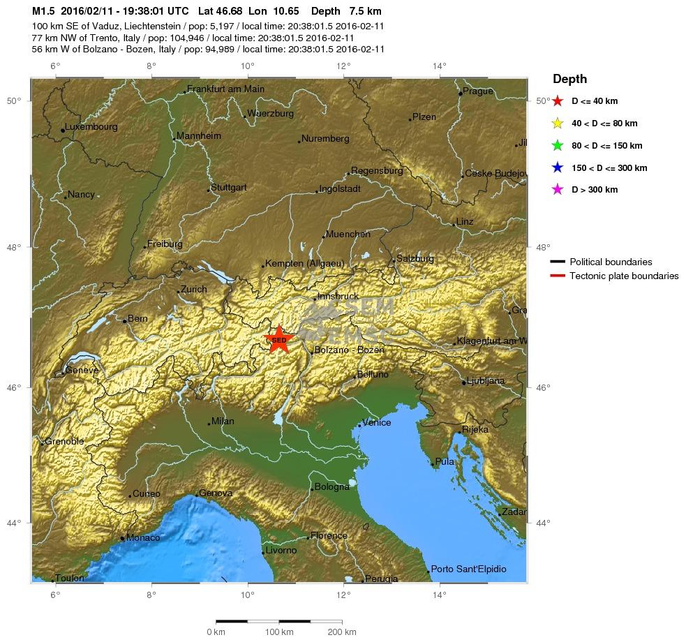 scossa Trentino