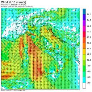 I venti previsti per le 10:00 di sabato