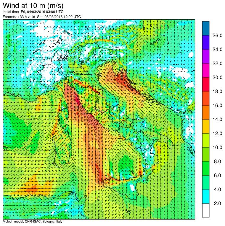 I venti previsti per le 13:00 di sabato