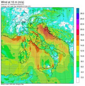 I venti previsti per le 16:00 di sabato