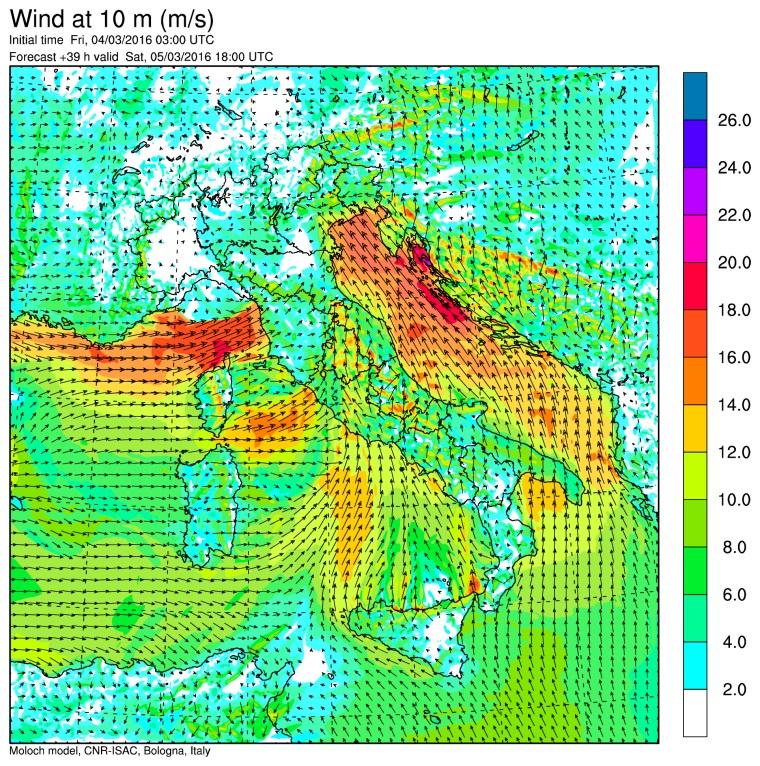 I venti previsti per le 19:00 di sabato