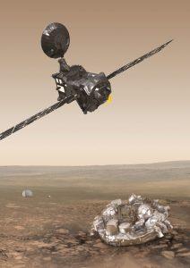 Rappresentazione artistica del Trace Gas Orbiter (TGO, in alto a sinistra) e del modulo Schiaparelli (in basso a destra), che compongono la missione ExoMars 2016. Il modulo Schiaparelli è rappresentato nella sua configurazione di superficie, dopo il distacco dei suoi scudi termici e paracadute ( visibili sullo sfondo) durante la discesa nell'atmosfera marziana. Il TGO e Schiaparelli non sono rappresentati in scala. Crediti: ESA/ATG medialab