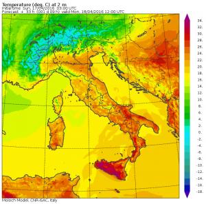 caldo lunedì 18 aprile