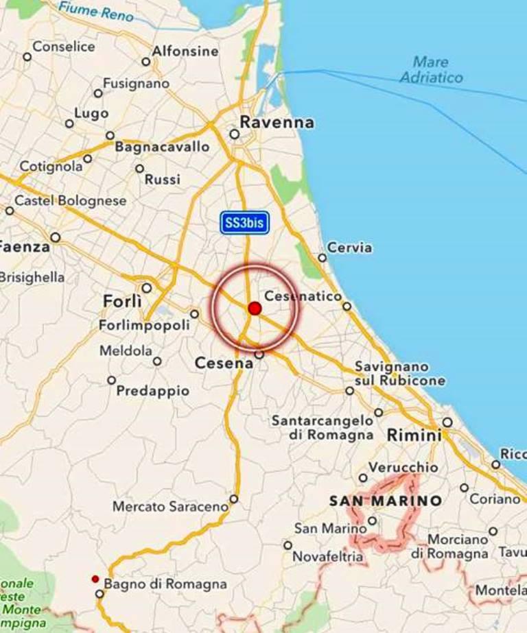 Terremoto in romagna scossa magnitudo 3 1 epicentro a cesena mappe e dati meteo web - Meteo it bagno di romagna ...