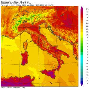 caldo massime domani