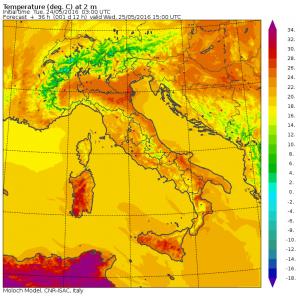 temperature massime mercoledì 25 maggio