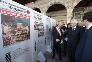 Sergio Mattarella durante la visita alla città di Venzone