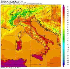 Le temperature massime previste per oggi, Mercoledì 15 Giugno