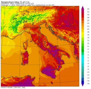 Le temperature massime previste per domani, Giovedì 16 Giugno