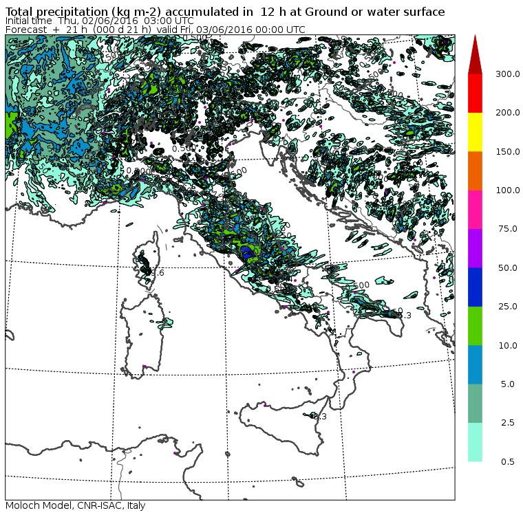 Le precipitazioni previste per oggi pomeriggio in Italia