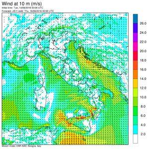I forti venti di scirocco che si attiveranno nella serata di domani