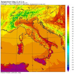 Le temperature attese per le ore 14 di domani, mercoledì 15 Giugno