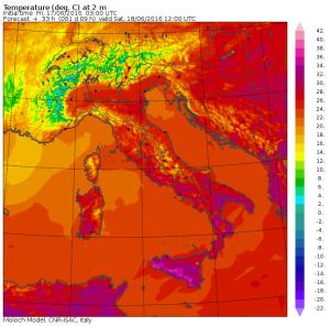 Le temperature massime previste per domani