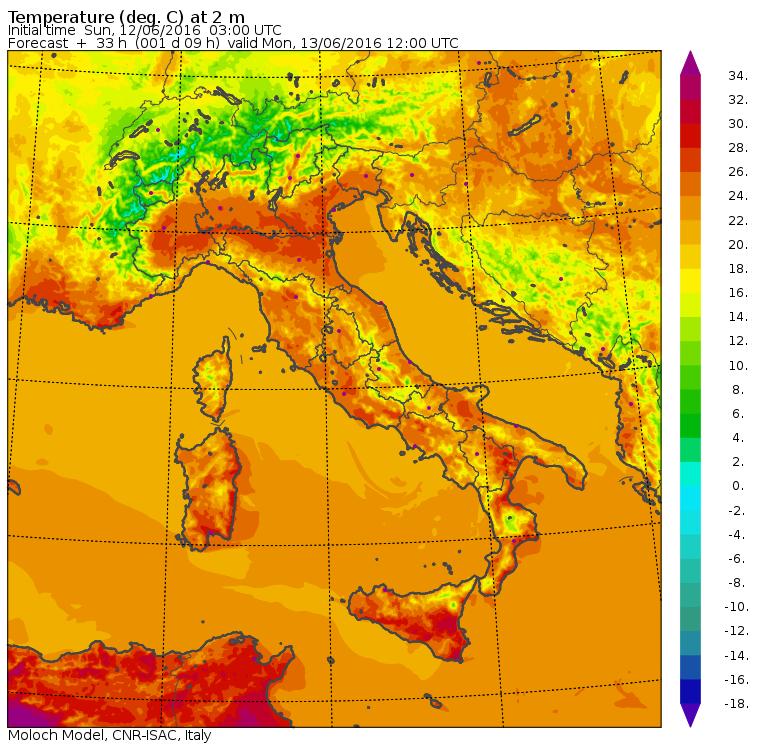 Le temperature massime di domani, lunedì 13 giugno