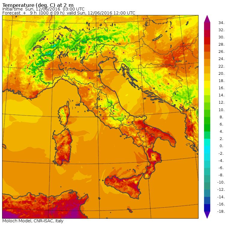 Le temperature massime di oggi, domenica 12 giugno