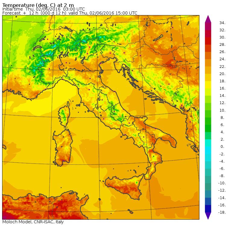 Le temperature massime previste per oggi in Italia