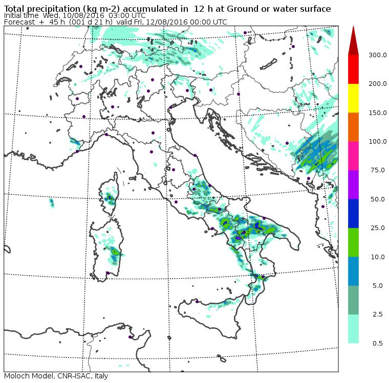 Le piogge previste per domani pomeriggio/sera dal modello MOLOCH del CNR-ISAC