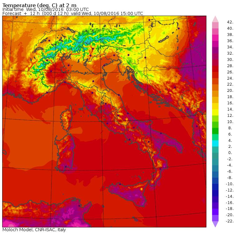 Le temperature massime previste per oggi dal modello MOLOCH del CNR-ISAC