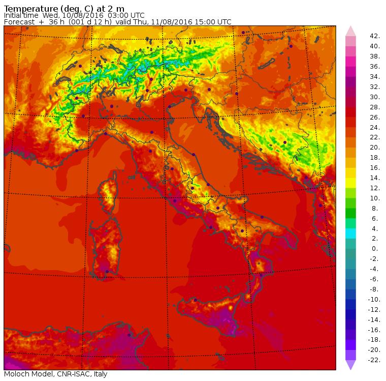 Le temperature massime previste per domani dal modello MOLOCH del CNR-ISAC