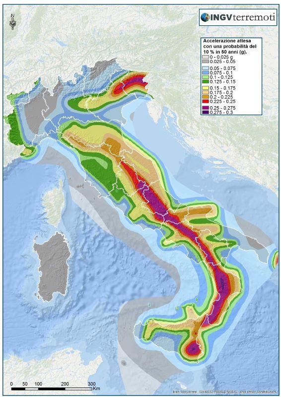 Mappa di pericolosità sismica - INGV