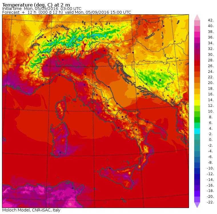 Le temperature massime di oggi previste dal modello Moloch dell'ISAC-CNR
