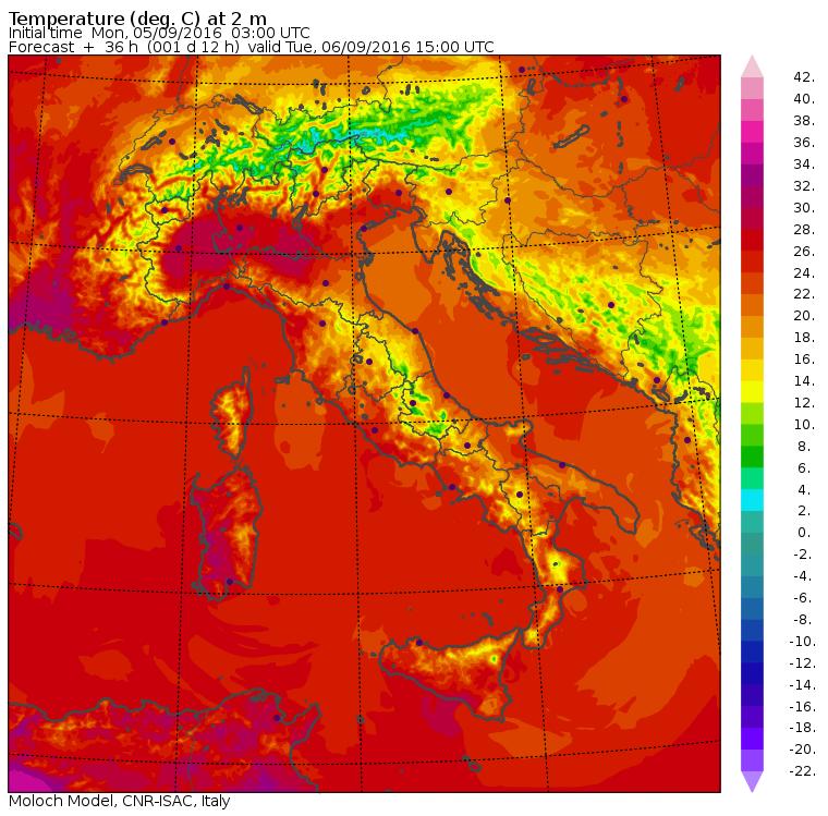 Le temperature massime di domani previste dal modello Moloch dell'ISAC-CNR