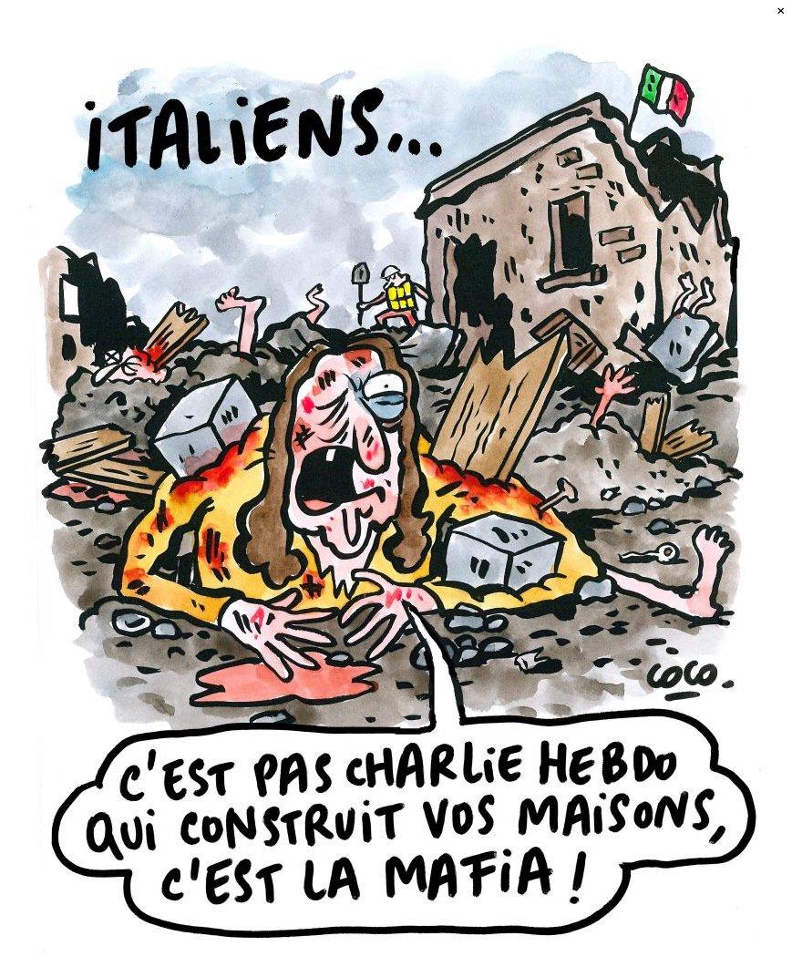 """Terremoto, Charlie Hebdo risponde agli italiani con un'altra vignetta: """"non siamo noi a costruire le vostre case, è la mafia"""""""