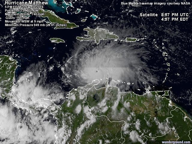 L'incredibile traiettoria dell'uragano Matthew: un mostro di 4ª categoria devasta Colombia e Venezuela! [FOTO e VIDEO LIVE]