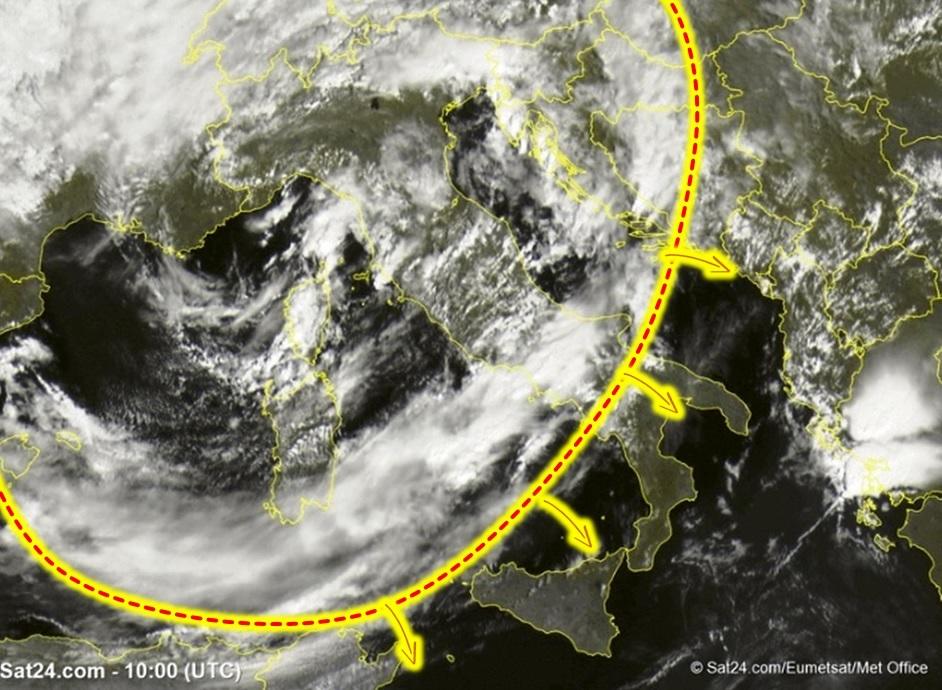 Allerta Meteo: il fronte freddo si sposta verso Sud, domenica di maltempo con fenomeni estremi in agguato [LIVE]