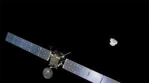 Copyright Spacecraft: ESA/ATG medialab; Comet image: ESA/Rosetta/NavCam – CC BY-SA IGO 3.0