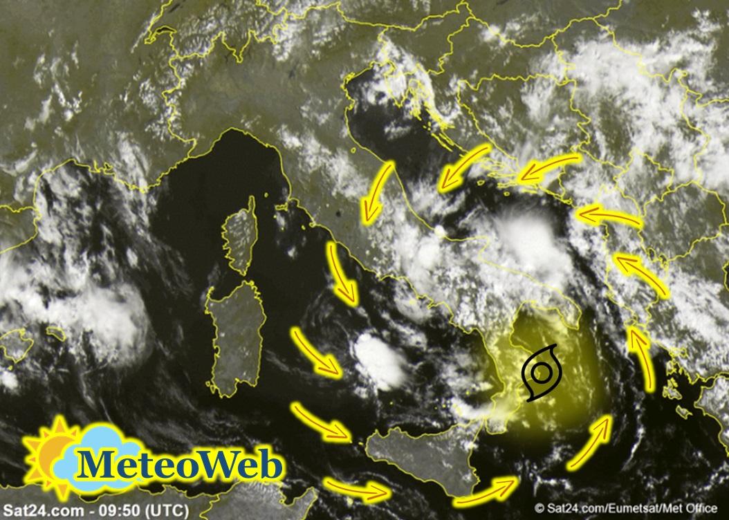 Allerta Meteo, ciclone al Sud: 6° giorno consecutivo di piogge e temporali, attenzione al pomeriggio [LIVE]