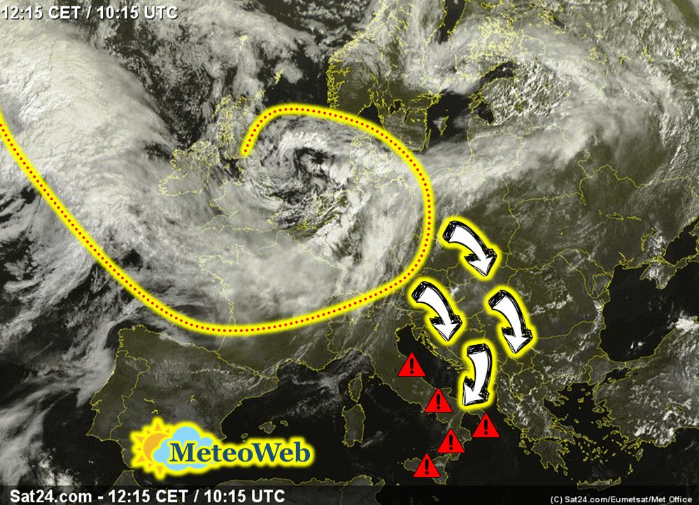 """Allerta Meteo, domenica di """"quiete prima della tempesta"""": arriva il ciclone, sarà una settimana di forte maltempo al Centro/Sud [MAPPE]"""