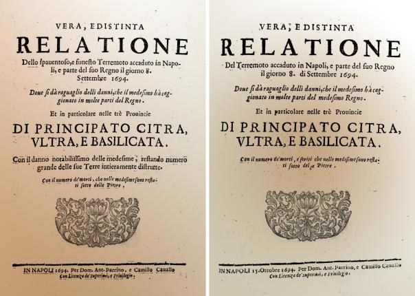 Frontespizio delle due relazioni anonime pubblicate a Napoli con notizie sui danni causati dal terremoto dell'8 settembre 1694. La seconda, pubblicata circa un mese dopo la prima, riporta informazioni più precise