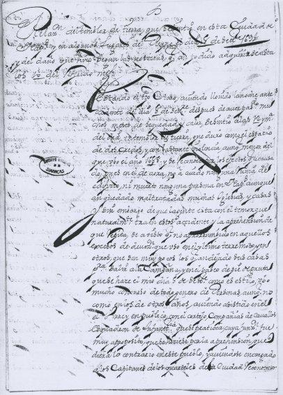 Relazione sui danni causati dal terremoto inviata a Madrid dal viceré di Napoli conte di Santisteban conservata all'Archivo General de Simancas