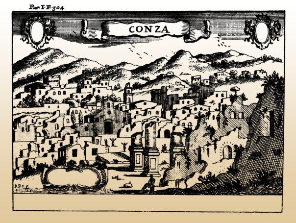 Conza della Campania dopo il terremoto dell'8 settembre 1694 (incisione di Francesco Cassiano de Silva pubblicata in Il Regno di Napoli in prospettiva (1703) di G.B. Pacichelli. Secondo le fonti coeve l'abitato era in pessime condizioni e semispopolato già prima della scossa distruttiva. Il paese ha abbandonato il suo sito antico dopo il terremoto del 1980