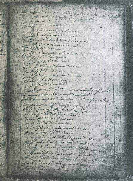 Nota de morti per causa del terremoto sortito ad otto settembre 1694 ad hore 18 trascritta nel registro dei morti conservato nell'Archivio Parrocchiale di S.Canio di Calitri