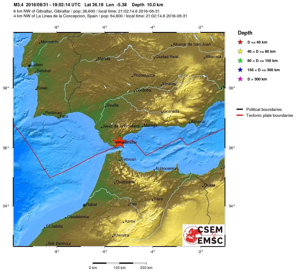 Terremoto di magnitudo 3.5 Richter nello Stretto di Gibilterra: la stampa spagnola ne dà notizia